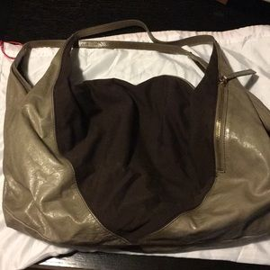 Grey leather/brown fabric hobo bag by Hobo